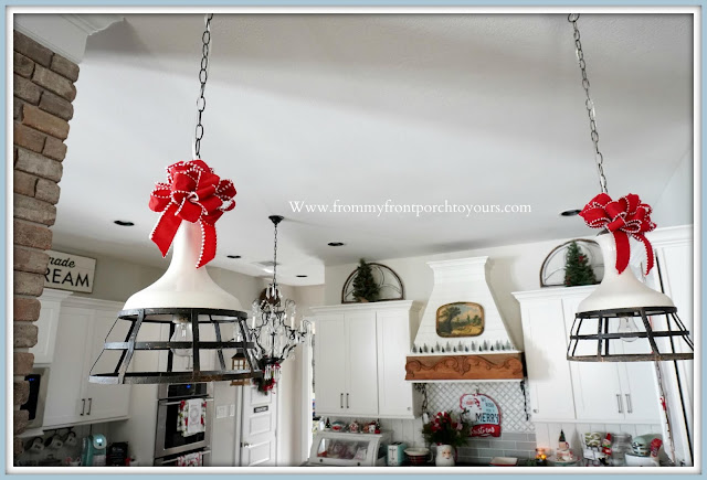 Cottage -Farmhouse -Christmas- Kitchen -Tour-Bows-Hanging Pendant Lights-From My Front Porch To Yours