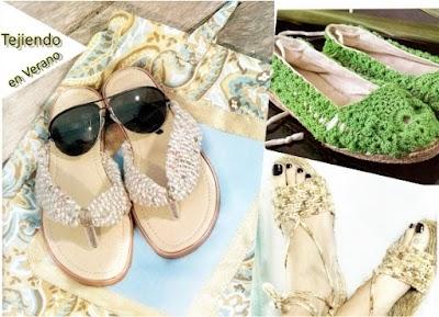 Tejer en verano 3 zapatillas con suela a ganchillo