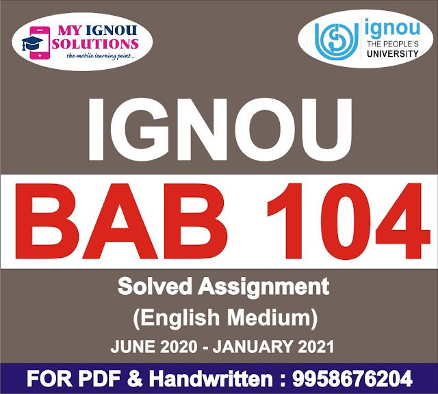 BAB 104 Solved Assignment 2020-21