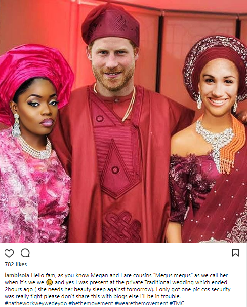 Bbnaija's Bisola Shares Photo From Prince Harry And Meghan Markle's Private Traditional Wedding