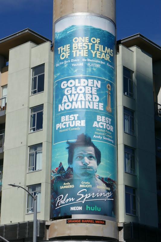Andy Samberg Palm Springs Golden Globe billboard