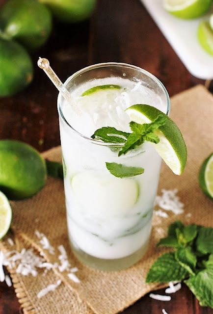 Tall Glass of Coconut Mojitos Image