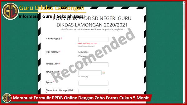 Membuat Formulir PPDB Online Dengan Zoho Forms Cukup 5 Menit
