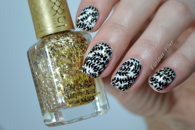 barry m treasure chest gold foil glam floral nails