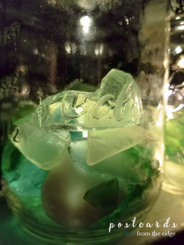 solar powered mason jar lantern with sea glass