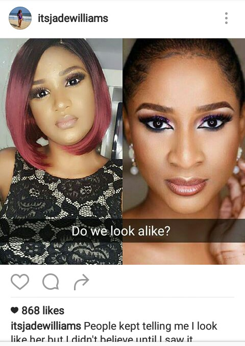 Is there any resemblance between Actress Adesua & Model Jade Williams ?