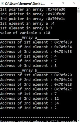 array of pointers in c output
