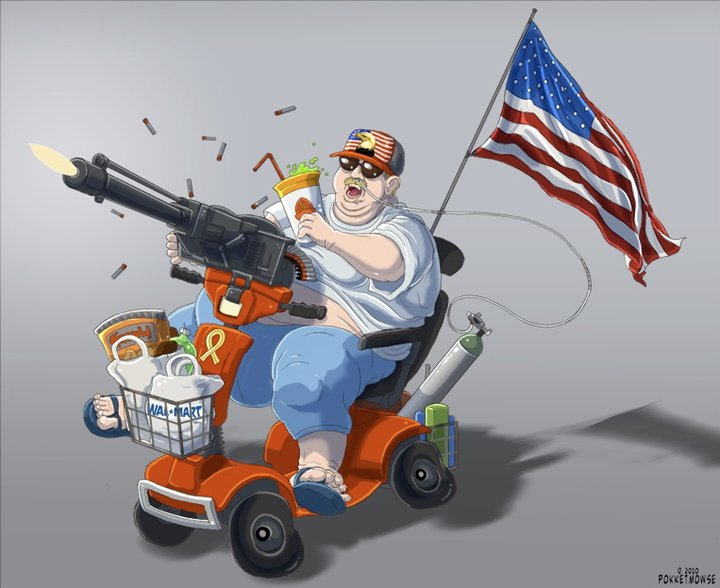 'MURICA cartoon by PokketMowse - caricature of Trump supporters