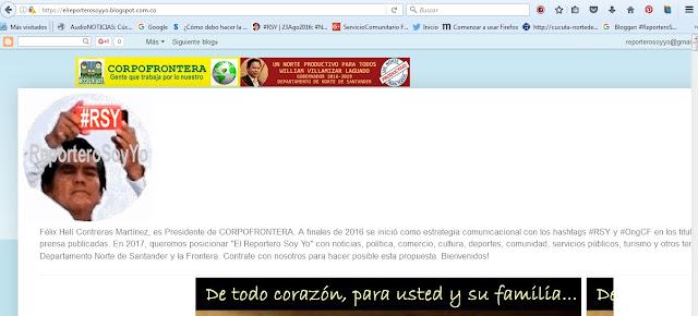 """Nuevo! Bienvenidos a """"El Reportero Soy Yo"""" de URL: https://elreporterosoyyo.blogspot.com.co/ #RSY #OngCF"""