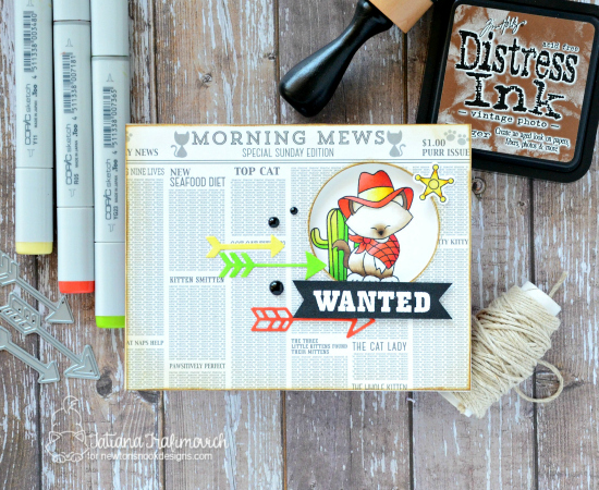 Wanted: Interactive Cowboy Cat Card by Tatiana Trafimovich | Newton Rides West Stamp set by Newton's Nook Designs #newtonsnook #handmade