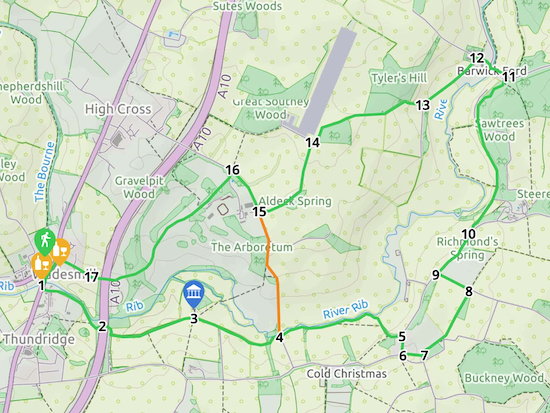 Map for Walk 91: Wadesmill East Loop  Created on Map Hub by Hertfordshire Walker  Elements © Thunderforest © OpenStreetMap contributors  Note: There is a larger, more detailed map embedded at the end of these directions