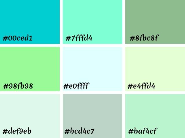 tons variados de verde