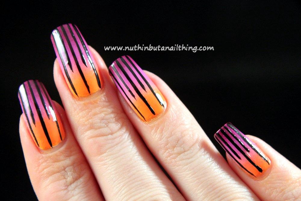 stripe polka dot nail art