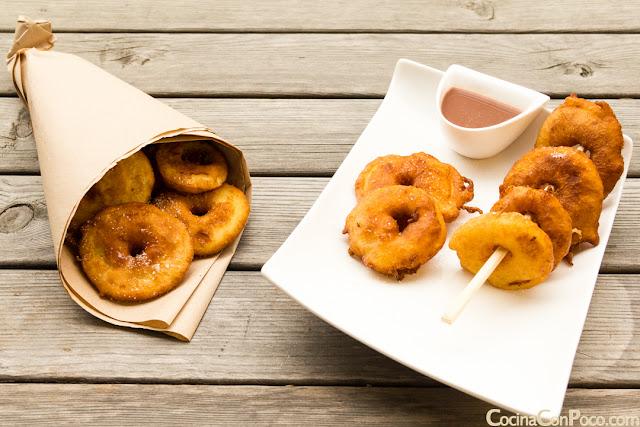 Buñuelos o donuts de manzana faciles - Receta sin gluten