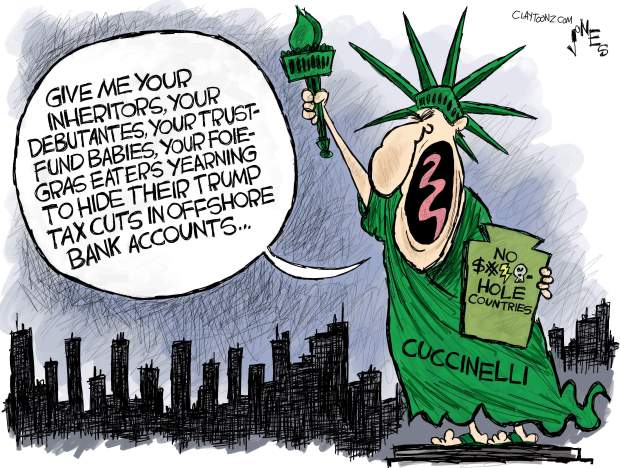 Ken Cuccinelli as Lady Liberty, saying,