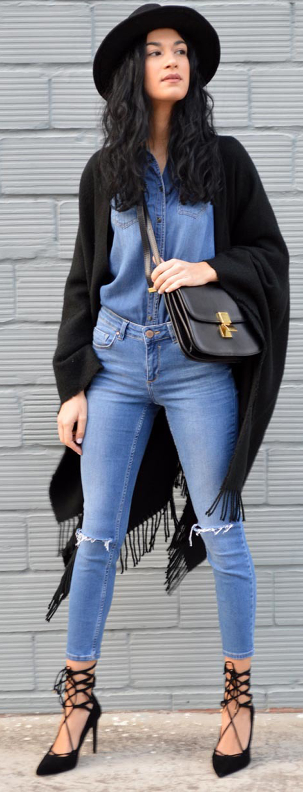 skinny jeans + denim shirt