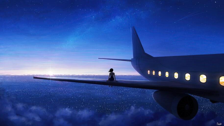 Sunrise, Horizon, Scenery, Airplane, Digital Art, 8K, #6.1055