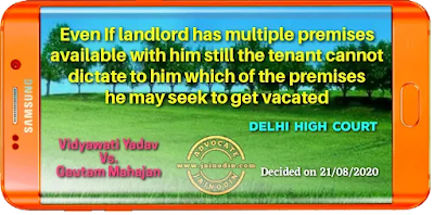 Even If landlord has multiple premises available with him still the tenant cannot dictate to him which of the premises he may seek to get vacated
