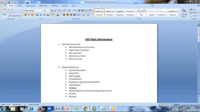SAP Plant Maintenance(PM) Module Online Classes