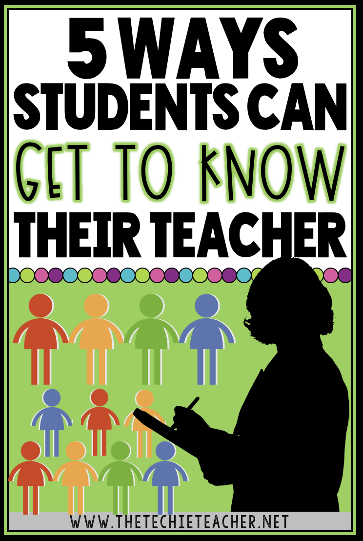 Don't forget that it is just as important for your students to get to know YOU, their teacher, as it is for you to get to know them at the beginning of the year. Here are 5 ways students can get to know their teacher.