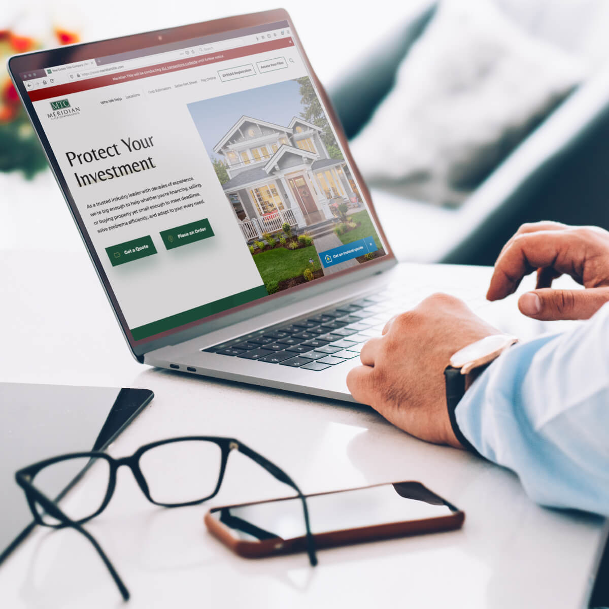 Banker looks at the Meridian Title website