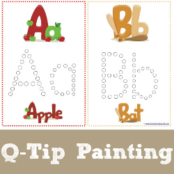 http://www.1plus1plus1equals1.net/2013/05/q-tip-painting-alphabet-printables/