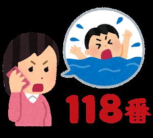 118番通報のイラスト(溺れる)