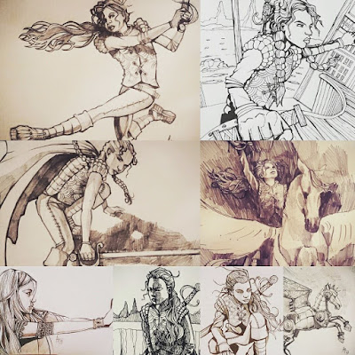 Lian webcomic early character sketches.