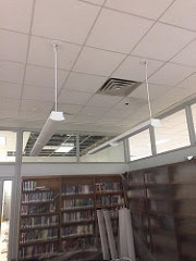 Upgraded lighting in the new book area