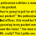 A policeman catches a man with some weed in his pocket.
