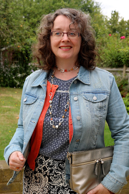 How to style your maxi skirt for Autumn, Denim Jacket, Pattern Mixing | Petite Silver Vixen