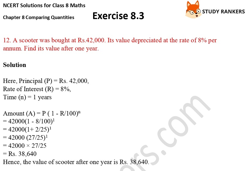 NCERT Solutions for Class 8 Maths Ch 8 Comparing Quantities Exercise 8.3 10