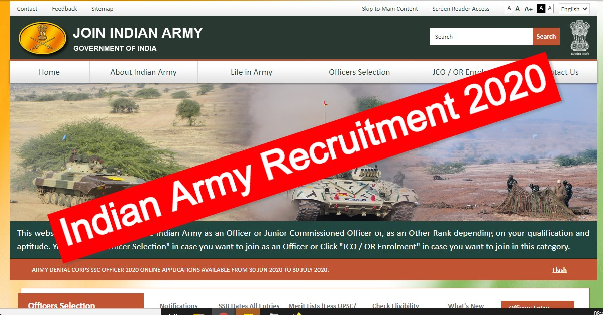Indian Army Recruitment 2020: Apply For 43 SSC Officer Posts