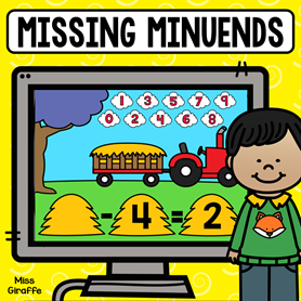 Fun missing minuends game kids can play to find all the numbers in a subtraction problem