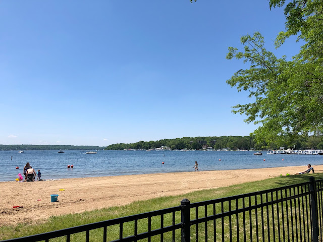Calm beach at Williams Bay on Geneva Lake ready for families to enjoy.