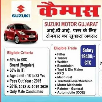 ITI Job Campus Placement Drive For Mandi Suzuki Motor Gujarat Private Limited in Govt. ITI Mandi on 02, March 2021