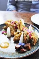 Avocado Tempura, Pickled Daikon, Moon Bean Flowers, Squash Blossoms at Manila Social Club