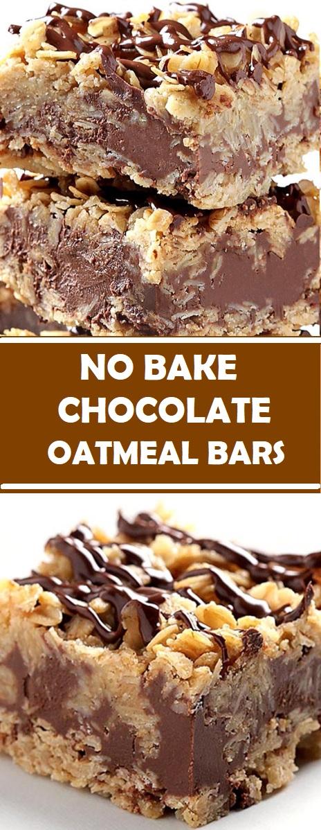 No Bake Chocolate Oatmeal Bars #NoBake #Chocolate #Oatmeal #Bars