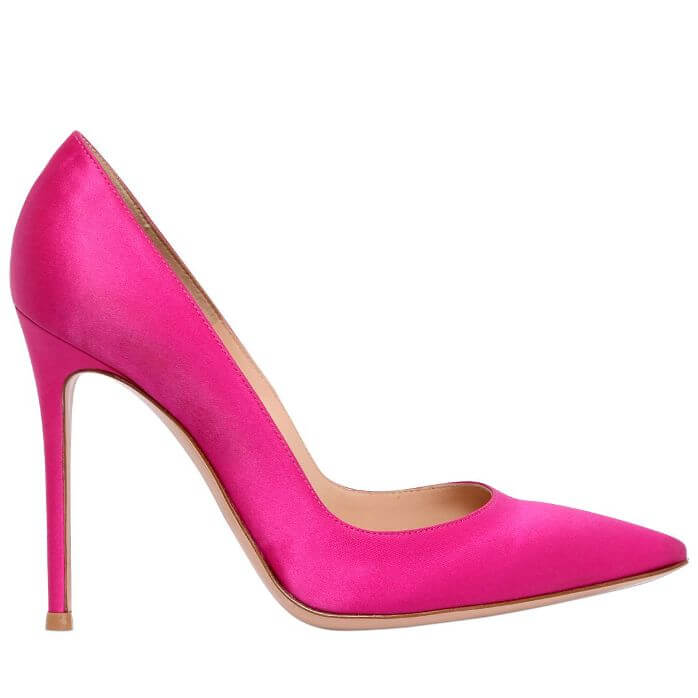 Satin Pink Pumps With Elongated Pointed Toe