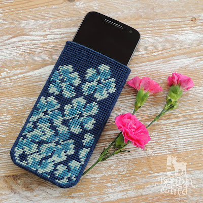Blue Flower Motif Tent Stitch Tapestry Phone Cover made with plastic canvas