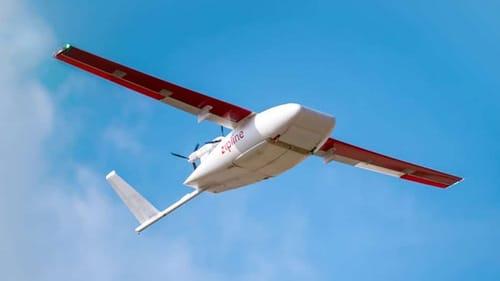 A Zipline drone carrying the Corona vaccine