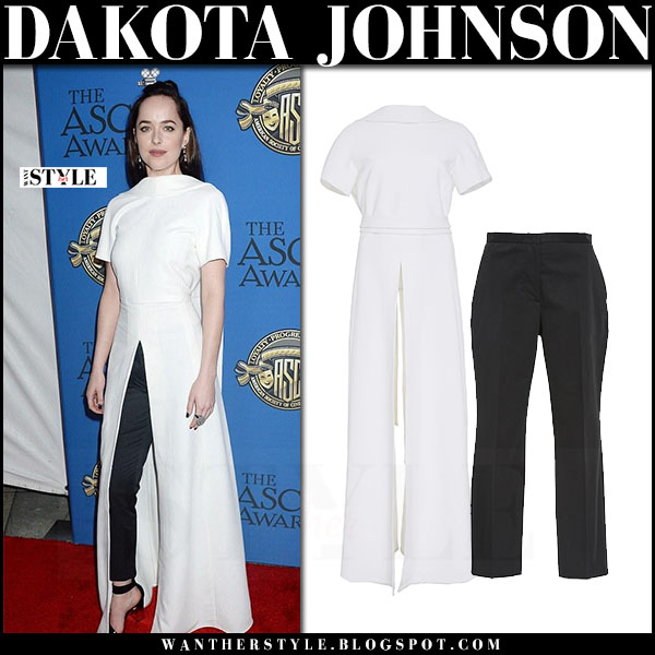 Dakota Johnson in white long blouse and black cropped pants rosetta getty asc awards 2017