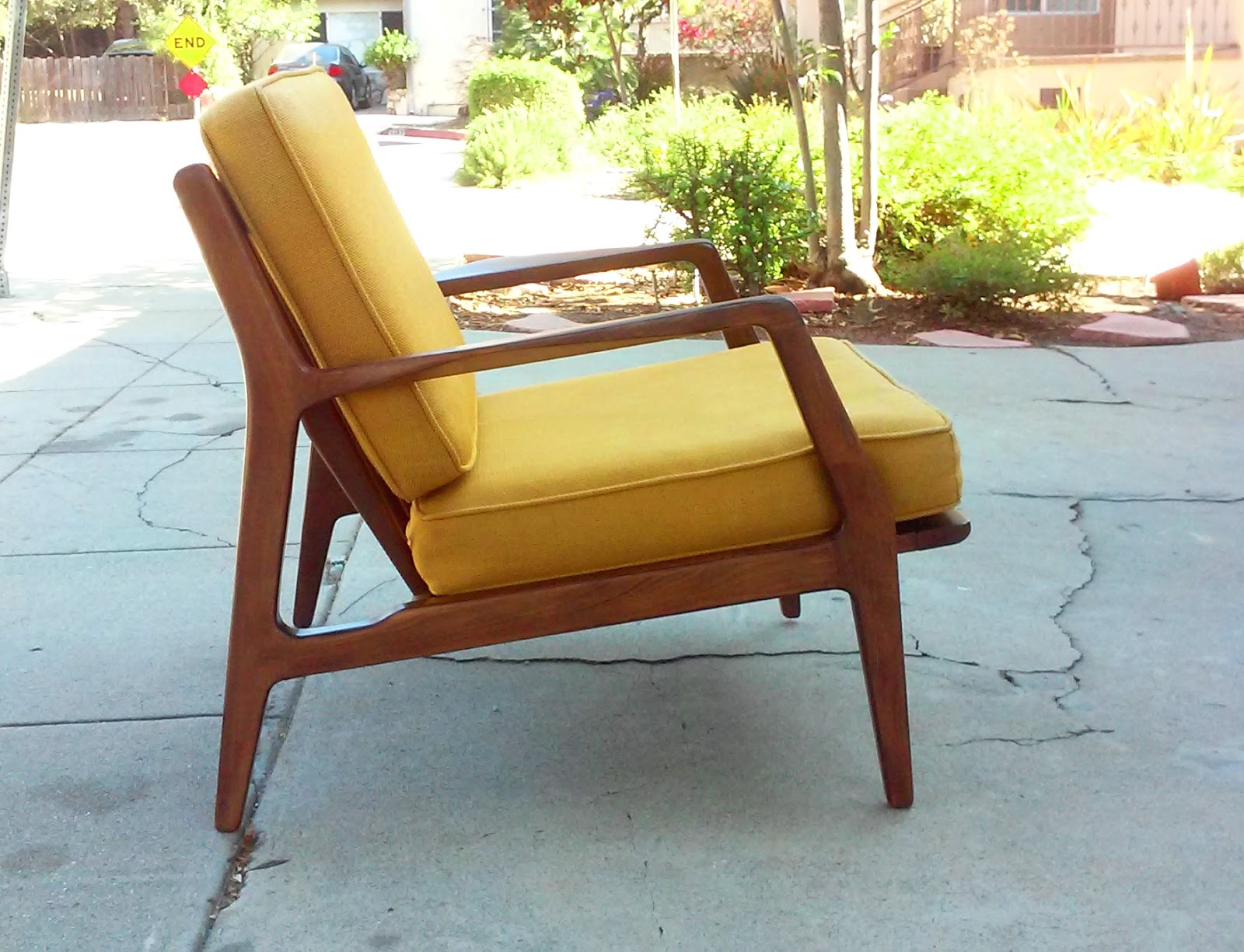 Vintage Danish Mid Century Lounge Chair By Designer Ib Kofod Larsen Made In  Denmark Newer Seat Straps, Original Mustard Tweed Fabric With Zippers.