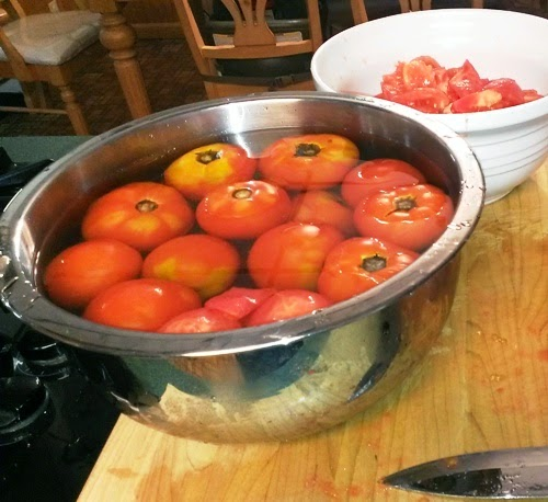 Tomatoes in ice water