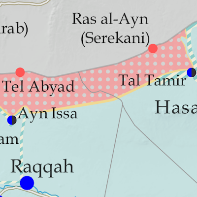 Map of Syrian Civil War (Syria control map): Territorial control in Syria in November 2019 (Free Syrian Army rebels, Kurdish YPG, Syrian Democratic Forces (SDF), Hayat Tahrir al-Sham (HTS / Al-Nusra Front), Islamic State (ISIS/ISIL), and others). Includes Turkish/TFSA control, joint SDF-Assad control, US deconfliction zone, and Turkey-Russia demilitarized buffer zone, plus recent locations of conflict and territorial control changes, including Ras al-Ayn, Tel Abyad, Ayn Issa, and more. Colorblind accessible.