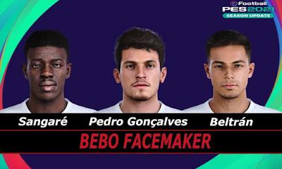 PES 2021 Faces Fran Beltrán & Pedro Gonçalves & Sangaré by Bebo