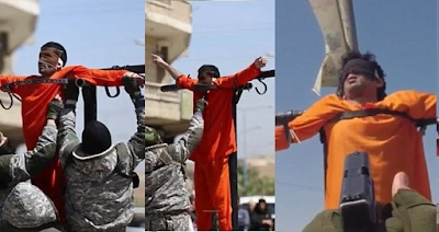 ISIS stabs and shoots man in public after crucifying him (Photos)