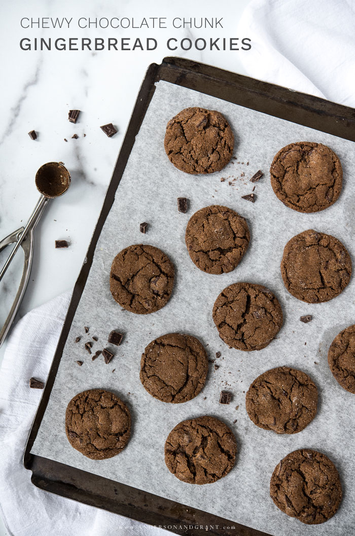 Chewy Chocolate Gingerbread Cookies on cookie sheet