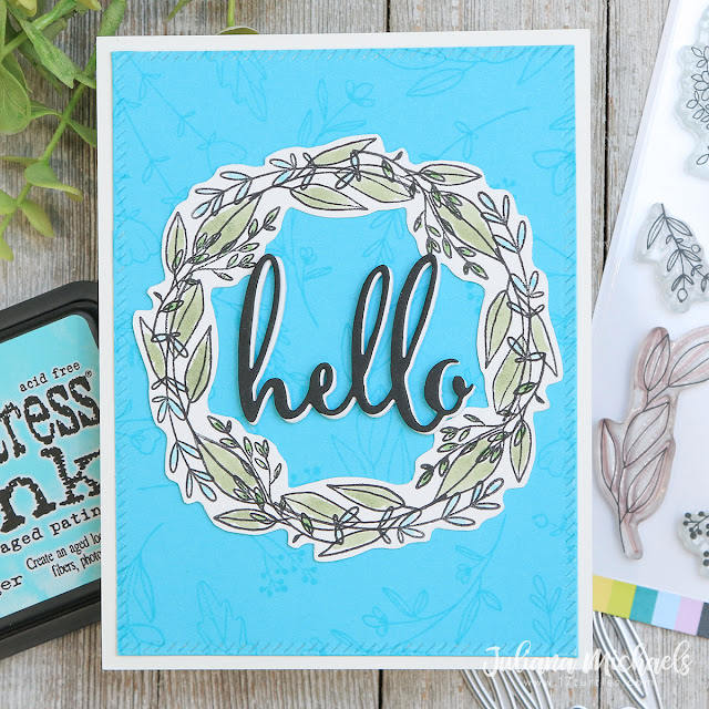 Hello Wreath Card by Juliana Michaels featuring Scrapbook.com Spring Sprigs Stamp Set