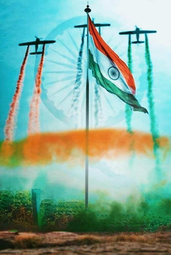 indian flag, with air force happy independence day